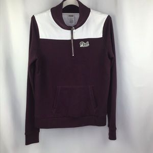 VS Pink 1/4 zip Pullover Maroon/White Small